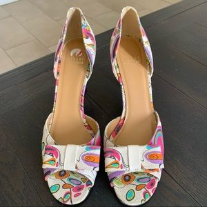 Stuart Weizmann Cream Colorful Kitten Heels 9N